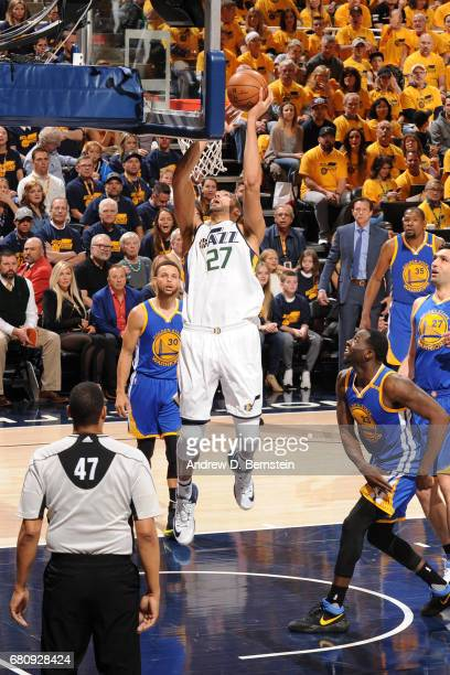 Rudy Gobert of the Utah Jazz shoots the ball against the Golden State Warriors in Game Three of the Western Conference Semifinals during the 2017 NBA...
