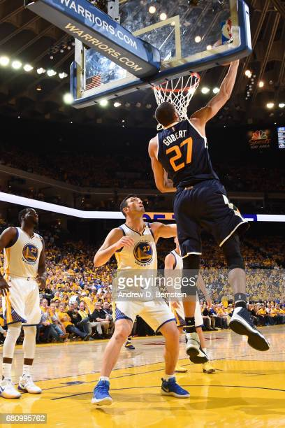 Rudy Gobert of the Utah Jazz shoots the ball against the Golden State Warriors in Game Two the Western Conference Semifinals during the 2017 NBA...