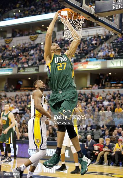 Rudy Gobert of the Utah Jazz shoots the ball against the Indiana Pacers at Bankers Life Fieldhouse on March 20 2017 in Indianapolis Indiana NOTE TO...