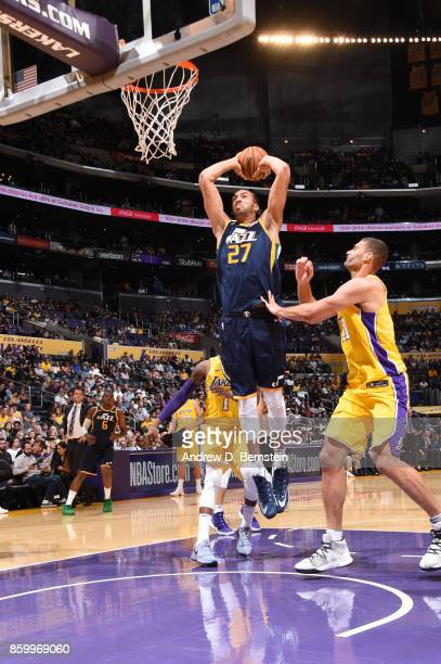 Rudy Gobert of the Utah Jazz shoots the ball against the Los Angeles Lakers during a preseason game on October 10 2017 at STAPLES Center in Los...