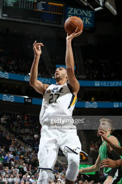 Rudy Gobert of the Utah Jazz shoots the ball against the Maccabi Haifa during a preseason game on October 4 2017 at vivintSmartHome Arena in Salt...