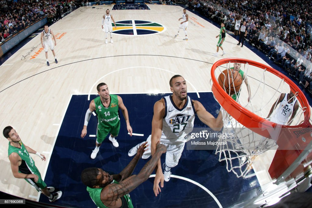 Rudy Gobert #27 of the Utah Jazz shoots the ball against the Maccabi Haifa during a preseason game on October 4, 2017 at vivint.SmartHome Arena in Salt Lake City, Utah.