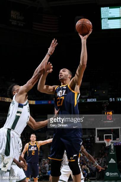 Rudy Gobert of the Utah Jazz shoots the ball against the Milwaukee Bucks on December 9 2017 at the BMO Harris Bradley Center in Milwaukee Wisconsin...