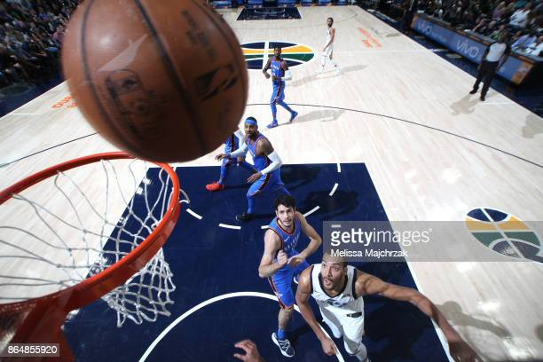 Rudy Gobert of the Utah Jazz shoots the ball against the Oklahoma City Thunder during the game on October 21 2017 at vivintSmartHome Arena in Salt...