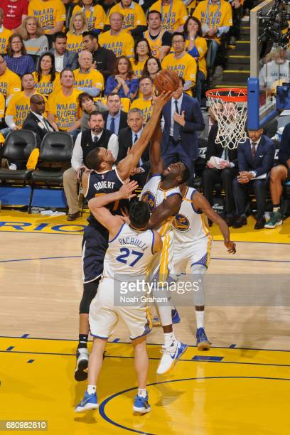 Rudy Gobert of the Utah Jazz shoots the ball over Draymond Green of the Golden State Warriors in Game Two the Western Conference Semifinals during...
