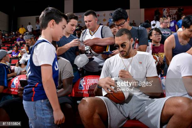 Rudy Gobert of the Utah Jazz signs an autograph for a fan during the 2017 Las Vegas Summer League on July 9 2017 at the Cox Pavilion in Las Vegas...