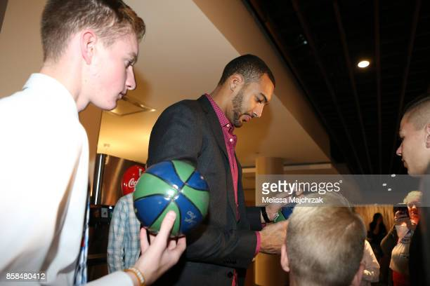Rudy Gobert of the Utah Jazz signs autographs for fans during Game Night with the Jazz at vivintSmartHome Arena on October 05 2017 in Salt Lake City...