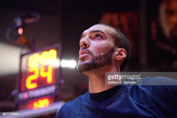 Rudy Gobert of the Utah Jazz stands for the National Anthem before a game against the LA Clippers on March 25 2017 at STAPLES Center in Los Angeles...