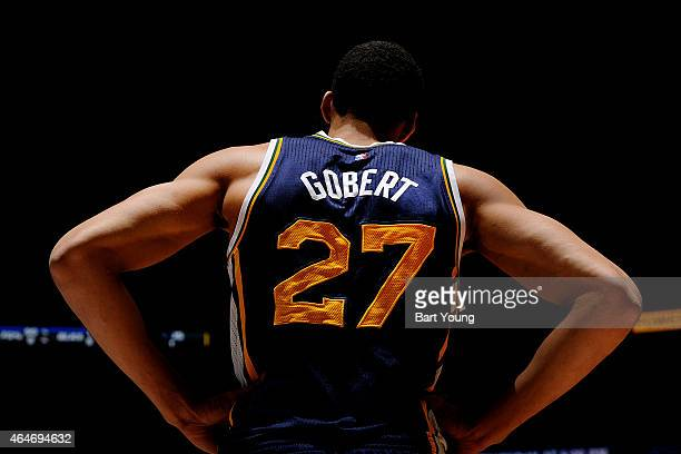 Rudy Gobert of the Utah Jazz stands on the court during a game against the Denver Nuggets on February 27 2015 at the Pepsi Center in Denver Colorado...