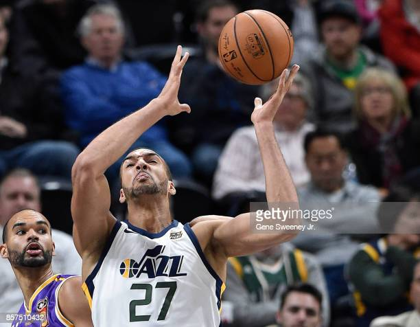 Rudy Gobert of the Utah Jazz tries for the loose ball during their game against the Sydney Kings at Vivint Smart Home Arena on October 2 2017 in Salt...