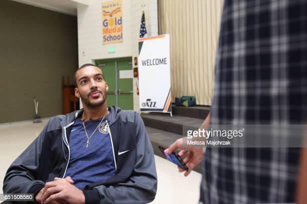 Rudy Gobert of the Utah Jazz visits kids and speaks to them in french at Foxboro Elementary School on September 20 2017 in Salt Lake City Utah NOTE...
