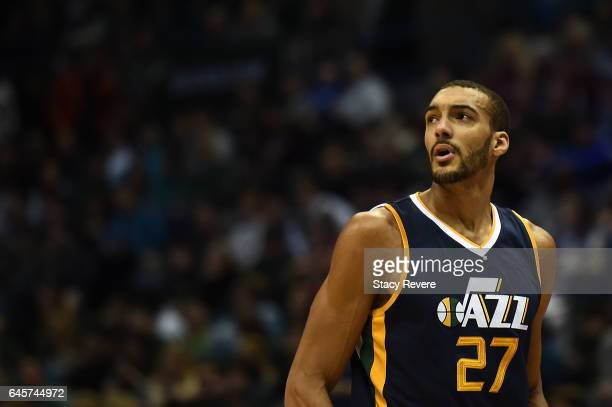 Rudy Gobert of the Utah Jazz walks onto the court during a game against the Milwaukee Bucks at the BMO Harris Bradley Center on February 24 2017 in...