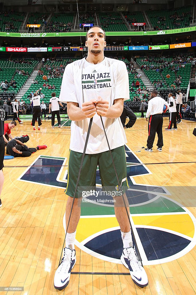 <a gi-track='captionPersonalityLinkClicked' href=/galleries/search?phrase=Rudy+Gobert&family=editorial&specificpeople=7616046 ng-click='$event.stopPropagation()'>Rudy Gobert</a> #27 of the Utah Jazz warms up before the game against the Portland Trail Blazers on March 25, 2015 at EnergySolutions Arena in Salt Lake City, Utah.