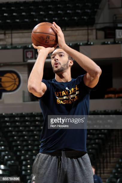 Rudy Gobert of the Utah Jazz warms up before the game against the Indiana Pacers on March 20 2017 at Bankers Life Fieldhouse in Indianapolis Indiana...