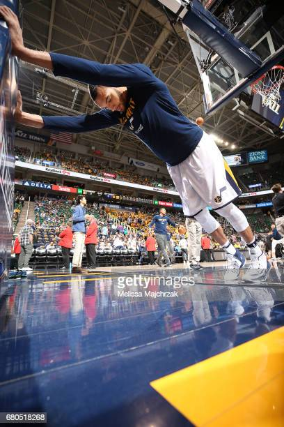 Rudy Gobert of the Utah Jazz warms up before the game against the Golden State Warriors in Game Four of the Western Conference Semifinals of the 2017...