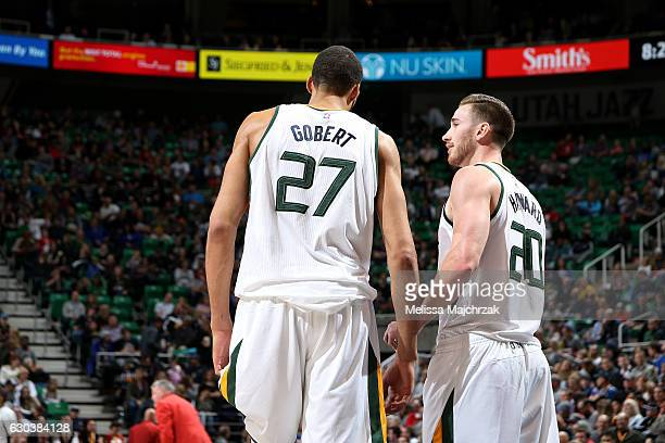 Rudy Gobert talks with Gordon Hayward of the Utah Jazz during the game against the Sacramento Kings on December 21 2016 at EnergySolutions Arena in...