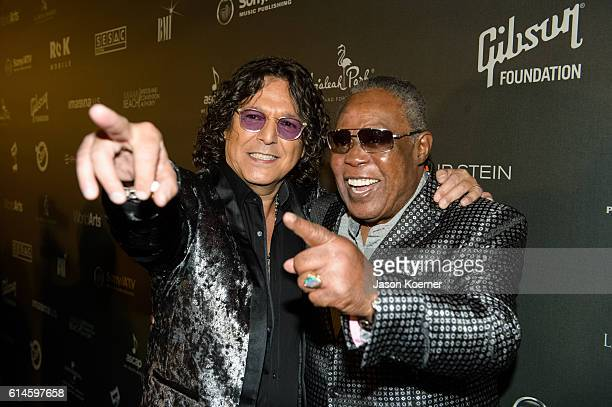 Rudy Perez and Sam Moore attend the Latin Songwriters Hall of Fame at the Fillmore Miami Beac on October 13 2016 in Miami Florida