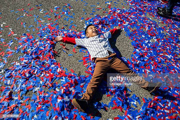 Rudy Toees celebrates the World Series champion Chicago Cubs during a parade and rally in Grant Park in Chicago on Friday Nov 4 2016