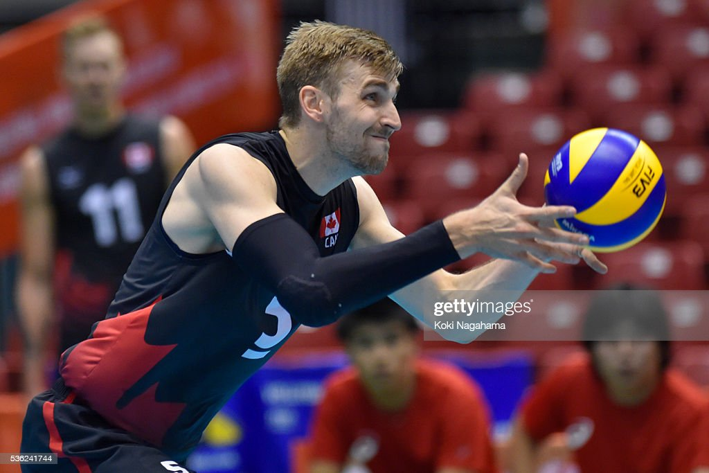 Rudy Verhoeff #5 of Canada serves the ball during the Men's World Olympic Qualification game between Venezuela and Canada at Tokyo Metropolitan Gymnasium on June 1, 2016 in Tokyo, Japan.