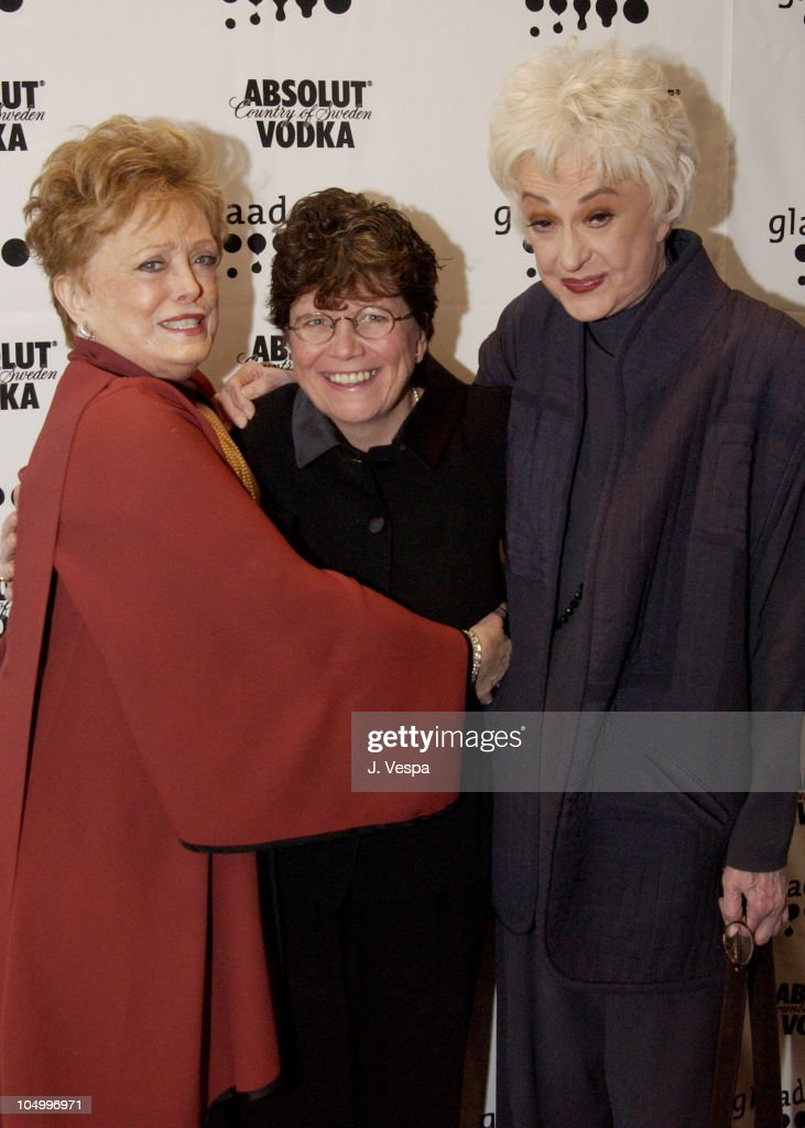 Rue McClanahan, Joan Garry & Bea Arthur during 13th Annual GLAAD Media Awards - New York - Backstage at Marriott Marquis in New York City, New York, United States.