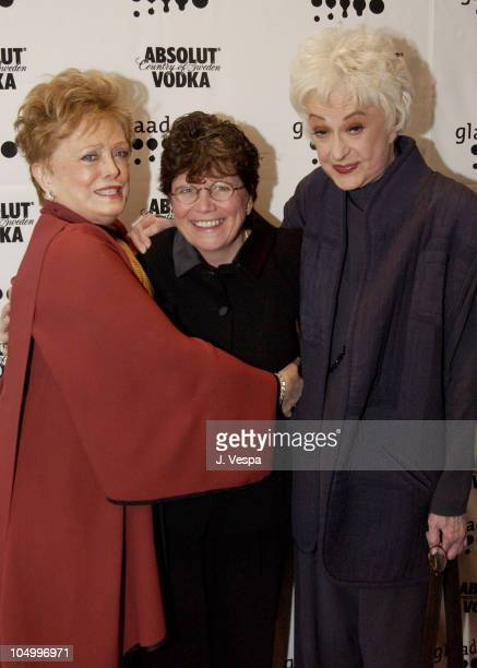 Rue McClanahan Joan Garry Bea Arthur during 13th Annual GLAAD Media Awards New York Backstage at Marriott Marquis in New York City New York United...