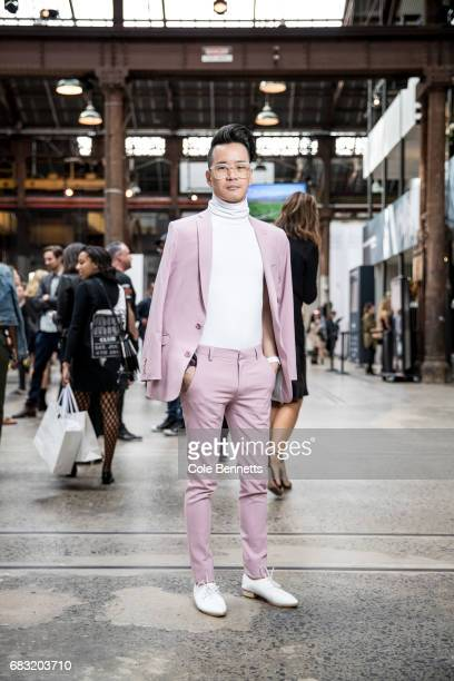Rueben Cheok wearing a pink Asos suit during MercedesBenz Fashion Week Resort 18 Collections at Carriageworks on May 15 2017 in Sydney Australia