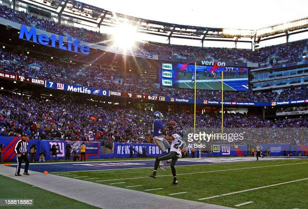 Rueben Randle of the New York Giants catches a touchdown against Nnamdi Asomugha of the Philadelphia Eagles during their game against the at MetLife...