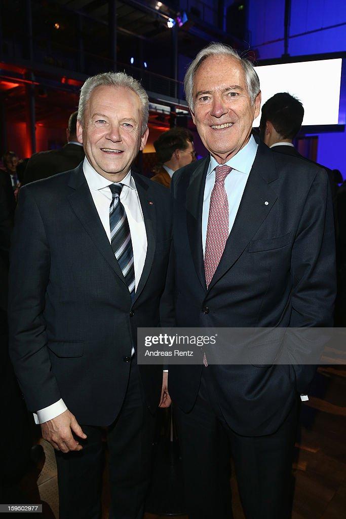 Ruediger Grube and Roland Berger attend the '8. Nacht der Sueddeutschen Zeitung' at Deutsche Telekom representative office on January 14, 2013 in Berlin, Germany.