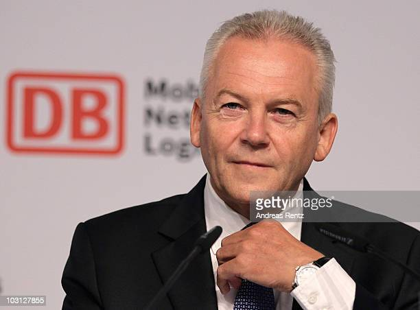 Ruediger Grube CEO of German state railways Deutsche Bahn gestures during a press conference at the Maritim Hotel on July 28 2010 in Berlin Germany...
