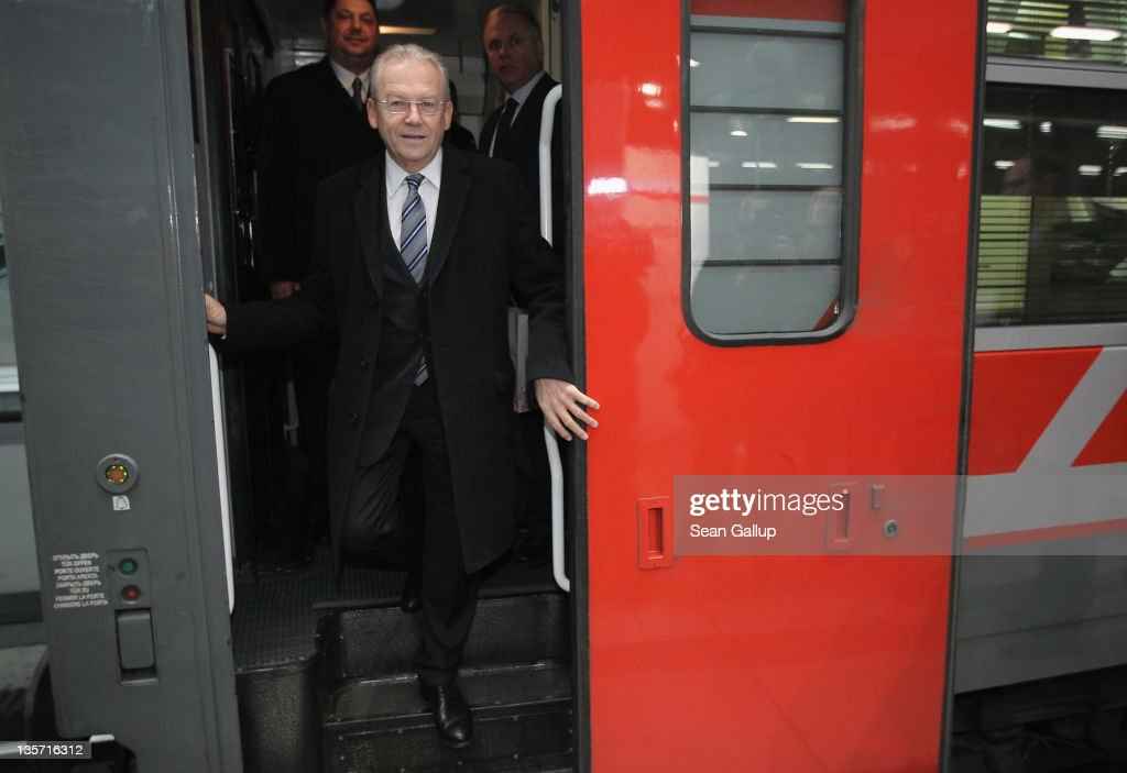 Ruediger Grube, head of German state rail carrier Deutsche Bahn, steps out of the Moscow-Berlin-Paris night train on its inaugural voyage on December 13, 2011 in Berlin, Germany. The train, which was on its way to Paris, travels the route in approximately 37 hours.
