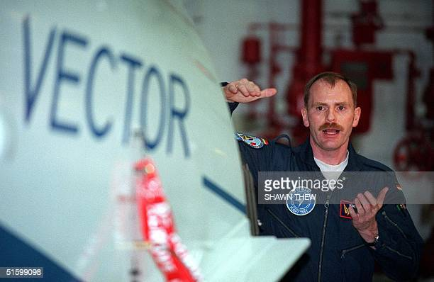 Ruediger 'Rudy' Knoepfel the German test pilot assigned to fly the US Navy's Vector X31 jet plane manufactured by the Boeing Company describes 30...