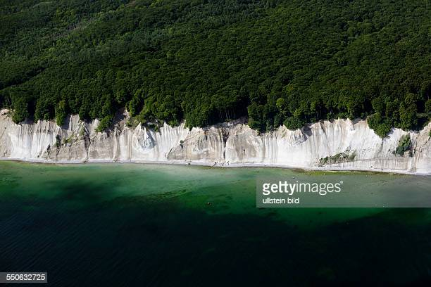 Ruegen Island chalk cliffs MecklenburgWestern Pomerania Germany aerial view