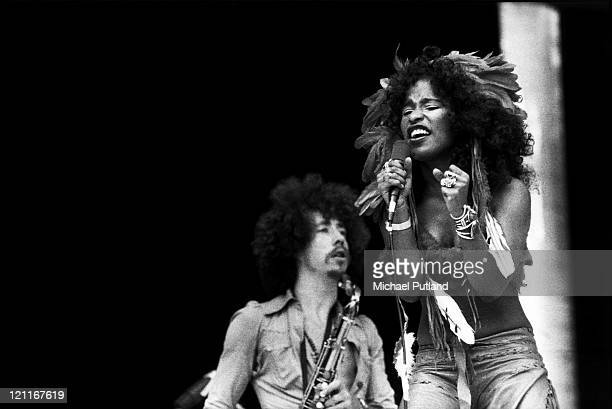 Rufus And Chaka Khan perform on stage at Midsummer Music Wembley Stadium 21st June 1975