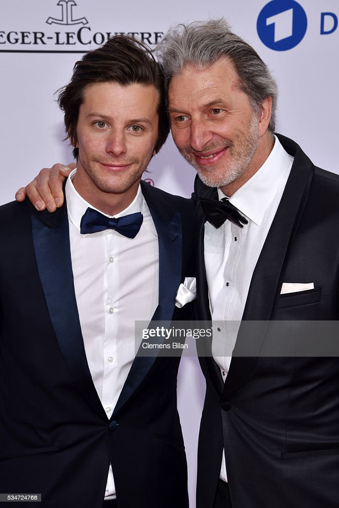 Rufus Beck (R) and his son Jonathan attend the Lola - German Film Award (Deutscher Filmpreis) on May 27, 2016 in Berlin, Germany.