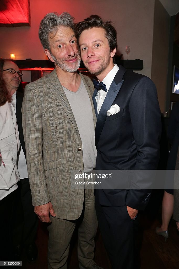 <a gi-track='captionPersonalityLinkClicked' href=/galleries/search?phrase=Rufus+Beck&family=editorial&specificpeople=2164701 ng-click='$event.stopPropagation()'>Rufus Beck</a> and his son Jonathan Beck during the Peugeot BVC Casting Night during the Munich Film Festival 2016 at Kaeferschaenke on June 26, 2016 in Munich, Germany.