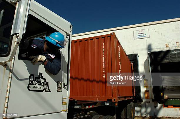 Rufus Bradley backs a shipping container to the loading dock of DuPont's Oxone warehouse on Friday November 11 2005 in Memphis Tennessee Oxone is the...