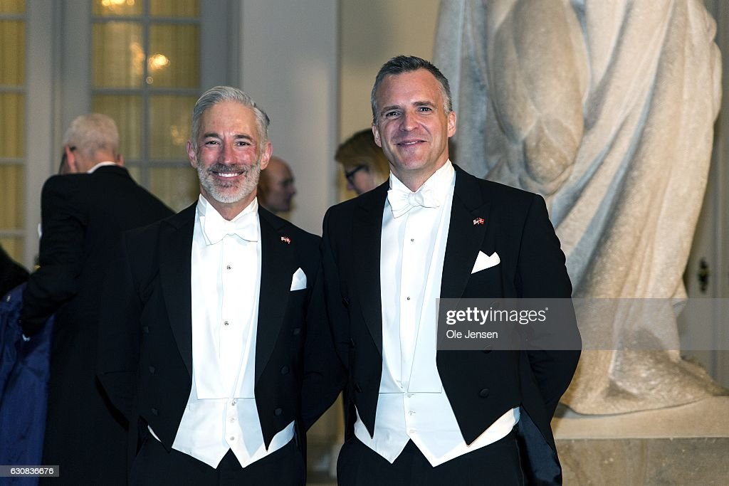 Rufus Gifford (R), US ambassador to Denmark, and spouse Dr. Stephen Devincent arrive to Queen Margrethe of Denmark's New Year's reception at Christiansborg - the parliament building - for the foreign diplomatic corps on January 3, 2017 in Copenhagen, Denmark.