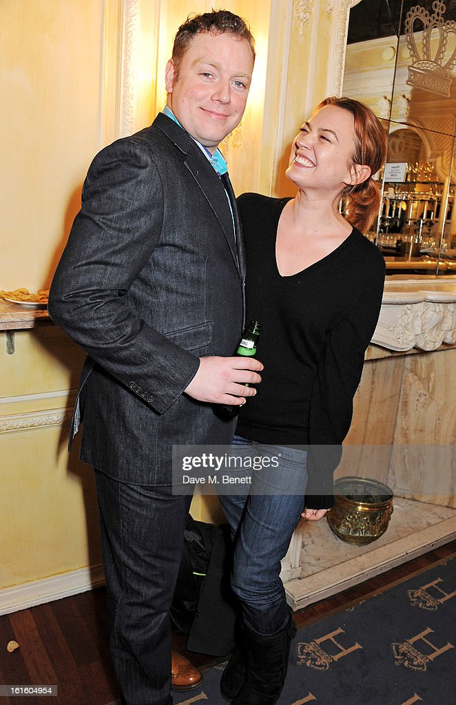 Rufus Hound (L) and <a gi-track='captionPersonalityLinkClicked' href=/galleries/search?phrase=Sophia+Myles&family=editorial&specificpeople=204706 ng-click='$event.stopPropagation()'>Sophia Myles</a> attend an after party celebrating the new cast of 'One Man, Two Guvnors' at the Theatre Royal Haymarket on February 12, 2013 in London, England.