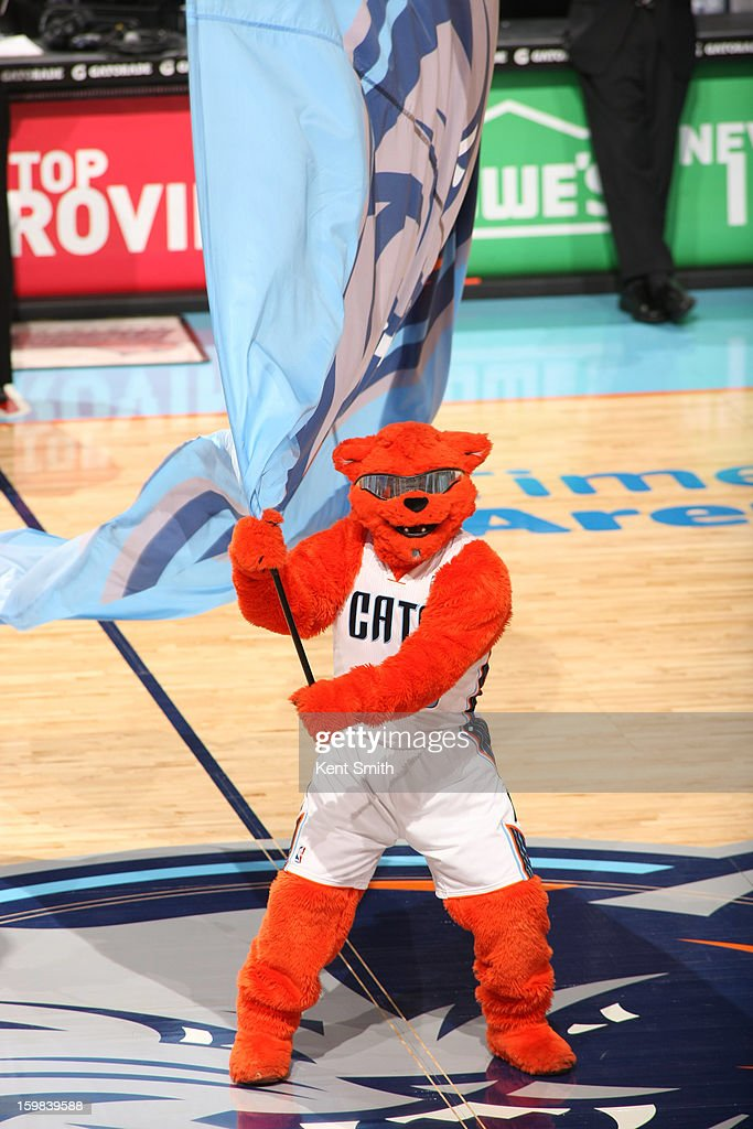 Rufus, mascot of the Charlotte Bobcats, waves a flag before the game against the Houston Rockets at the Time Warner Cable Arena on January 21, 2013 in Charlotte, North Carolina.