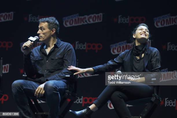 Rufus Sewell and Alexa Davalos onstage at 'The World of Philip K Dick' The Man in the High Castle and Philip K Dick's Electric Dreams Panel at...