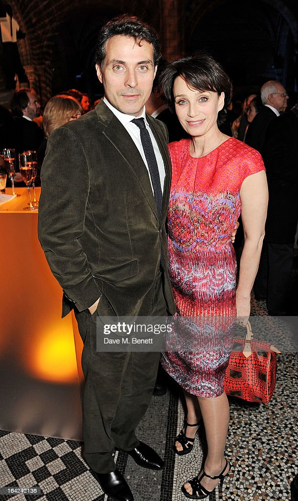 Rufus Sewell (L) and Kristen Scott Thomas attend an after party following the press night performance of 'The Book of Mormon' at the Natural History Museum on March 21, 2013 in London, England.