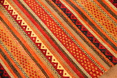 Close up of a southwestern style rug.