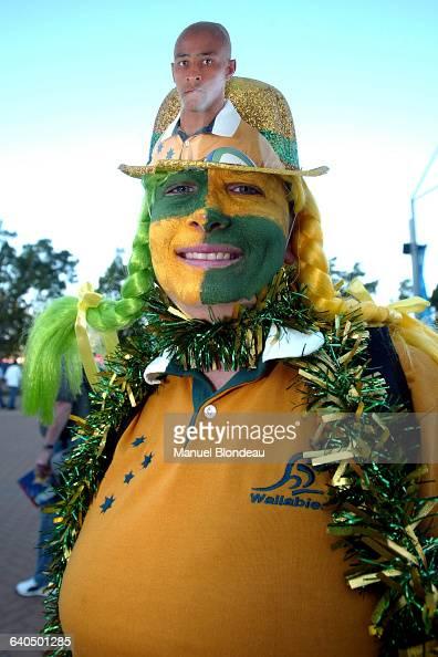 Australia vs New Zealand Australian fan Rugby Coupe du Monde 2003 Demifinale Australie contre NouvelleZélande Un supporter australien