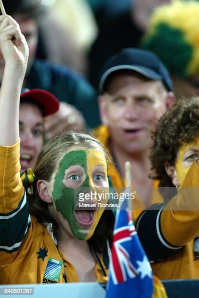 Australia vs New Zealand Australian fan Rugby Coupe du Monde 2003 Demifinale Australie contre NouvelleZélande Une supportrice australienne