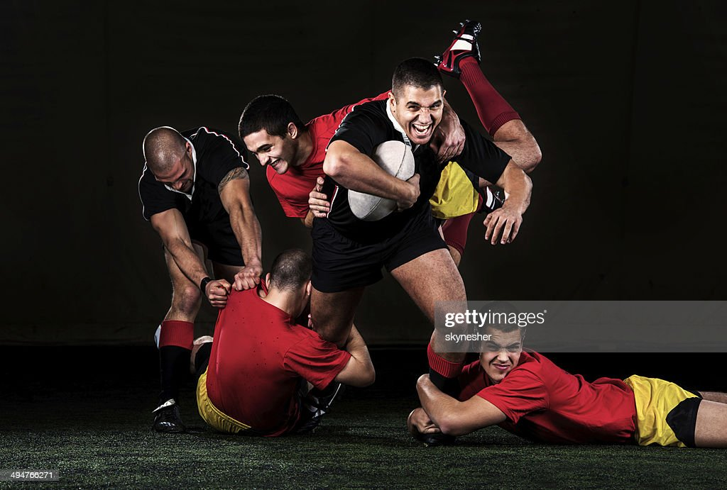 Rugby action.