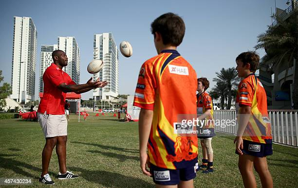 Rugby Ambassador Ugo Monye of England and Harlequins is pictured at the Etihad Airways Abu Dhabi Harlequins Junior Rugby Tournament held at Zayed...