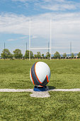 Rugby ball in front of the pole.