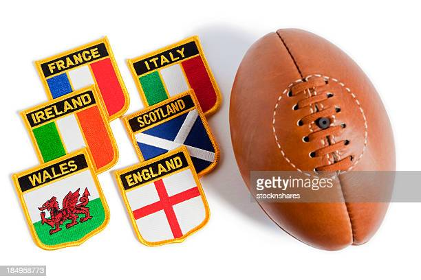 Rugby ball with flag patches from six nations