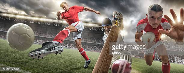 Rugby, Cricket, Fußball-Action