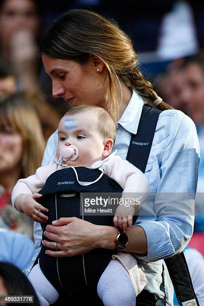Rugby fan and her baby look on during the 2015 Rugby World Cup Pool C match between New Zealand and Argentina at Wembley Stadium on September 20 2015...